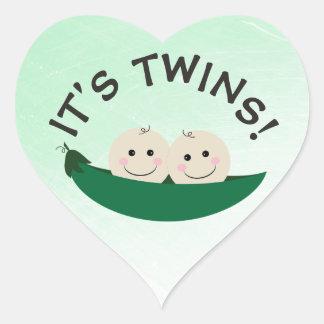 Adesivo Coração Seu ponto morto verde do género dos gêmeos em