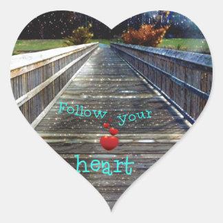 Adesivo Coração Siga seu coração através da ponte na luz