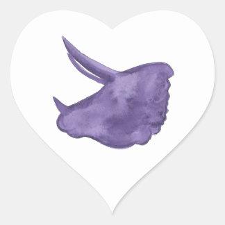 Adesivo Coração Silhueta roxa do Triceratops