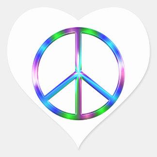 Adesivo Coração Sinal de paz colorido brilhante
