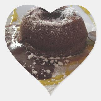 Adesivo Coração Sobremesa morna do bolo da lava do fundente do
