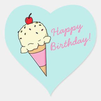 Adesivo Coração Sorvete do feliz aniversario