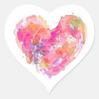 Adesivo Coração Stocker desarrumado do coração da aguarela - ROSA