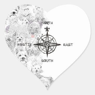 Adesivo Coração Sudeste norte & cão de Westie