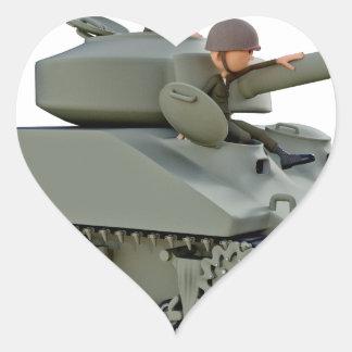 Adesivo Coração Tanque e soldados dos desenhos animados na