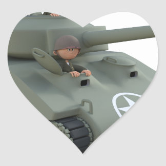 Adesivo Coração Tanque e soldados dos desenhos animados que vão