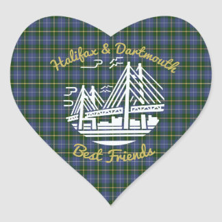 Adesivo Coração Tartan dos melhores amigos de Nova Escócia Halifax