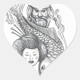 Adesivo Coração Tatuagem da cabeça da gueixa da carpa de Viking