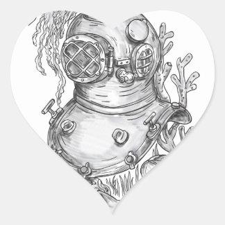 Adesivo Coração Tatuagem do capacete do mergulho da velha escola