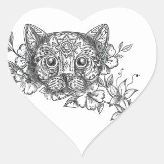 Adesivo Coração Tatuagem principal da flor do jasmim do gato