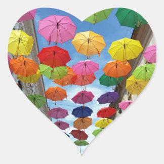 Adesivo Coração Telhado dos guarda-chuvas