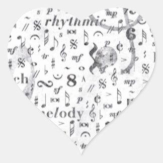Adesivo Coração Tema da música do teste padrão da nota da música