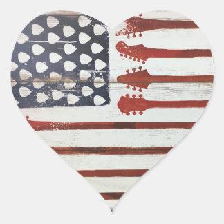 Adesivo Coração Tema patriótico da música da guitarra da bandeira