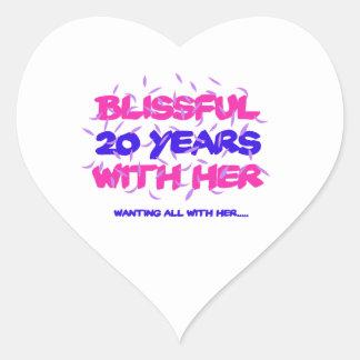 Adesivo Coração Tendendo o 20o design do aniversário do casamento