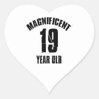 Adesivo Coração TENDENDO o DESIGN do ANIVERSÁRIO das pessoas de 19