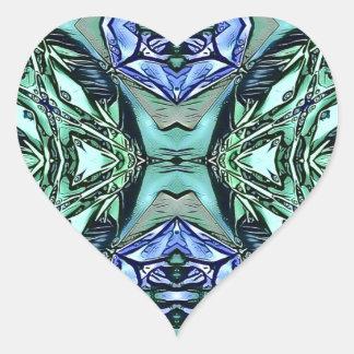Adesivo Coração Teste padrão artístico do Lilac Funky da cerceta