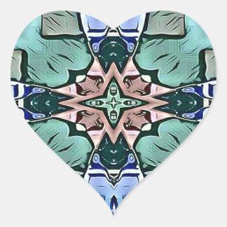 Adesivo Coração Teste padrão artístico do pêssego moderno do Lilac