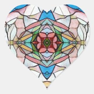 Adesivo Coração Teste padrão artístico raro bonito do vitral