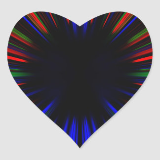 Adesivo Coração Teste padrão azul e vermelho do starburst