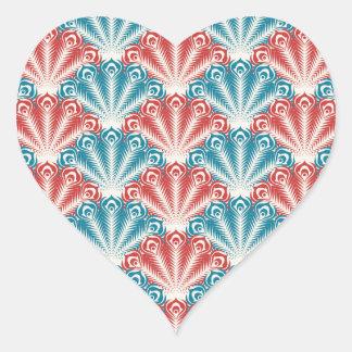 Adesivo Coração teste padrão branco e azul vermelho do pavão