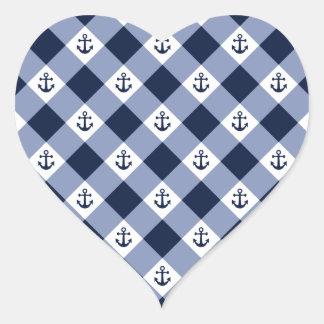 Adesivo Coração Teste padrão checkered náutico diagonal do guingão