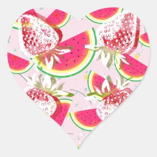 Adesivo Coração Teste padrão da festa do melão das morangos