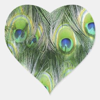 Adesivo Coração Teste padrão da pena do pavão