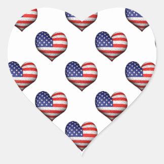 Adesivo Coração Teste padrão dado forma coração da bandeira do