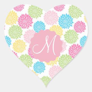 Adesivo Coração Teste padrão de flores Pastel colorido da dália