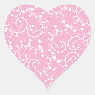 Adesivo Coração teste padrão floral cor-de-rosa