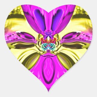 Adesivo Coração Teste padrão florescente legal do abstrato do
