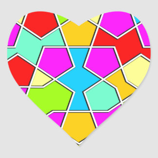 Adesivo Coração teste padrão geométrico islâmico