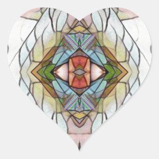 Adesivo Coração Teste padrão moderno artístico legal do vitral
