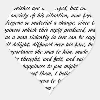Adesivo Coração Texto do orgulho e do preconceito