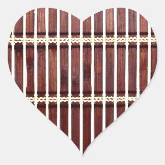 Adesivo Coração textura de bambu da esteira
