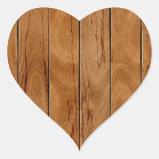 Adesivo Coração Textura de madeira do assoalho do marrom escuro