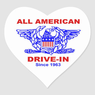 Adesivo Coração Toda a movimentação americana do Hamburger no