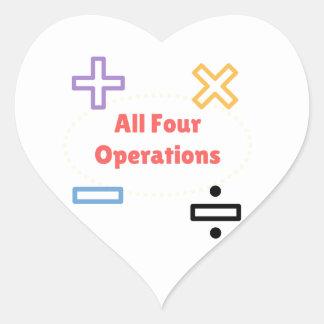 Adesivo Coração Todas as quatro operações