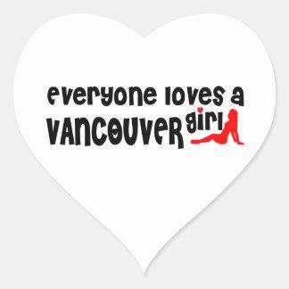 Adesivo Coração Todos ama uma menina de Vancôver