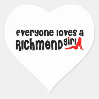 Adesivo Coração Todos ama uma menina do monte de Richmond
