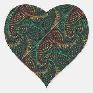 Adesivo Coração Torcido - verde e vermelho