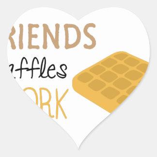 Adesivo Coração Trabalho dos Waffles dos amigos