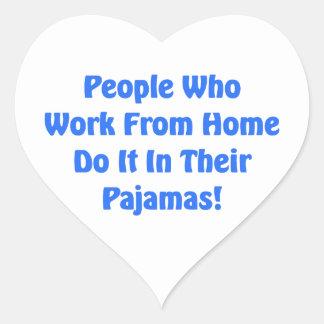Adesivo Coração Trabalho em casa em seus pijamas