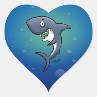 Adesivo Coração Tubarão engraçado de sorriso no fundo azul