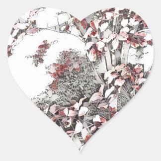 Adesivo Coração Últimas folhas delicadas do outono