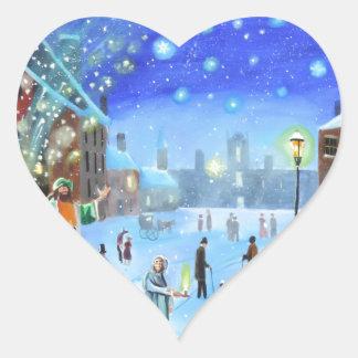 Adesivo Coração Uma cena da rua do inverno de Scrooge da canção de