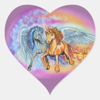 Adesivo Coração Unicórnio Pegasus~stickers do vento e da chama
