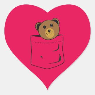 Adesivo Coração Urso no bolso