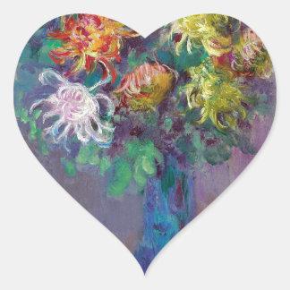 Adesivo Coração Vaso dos crisântemos Claude Monet