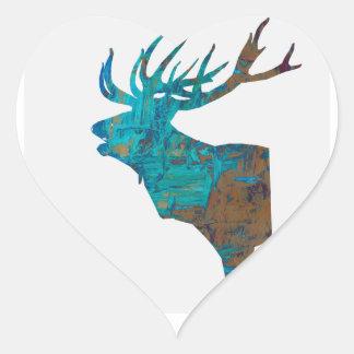 Adesivo Coração veado principal dos cervos nos turquois